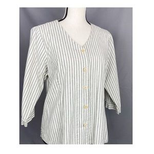 FLAX Organic Cotton Button Up Stripe Jacket